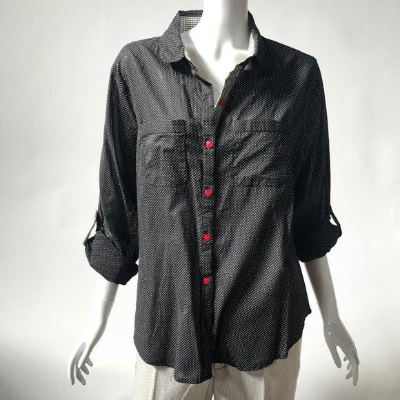 Black Polka Dot Petite Shirt - Size XL